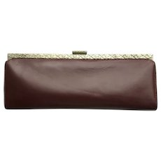 Vintage 1960's Leather Clutch - Baguette Style in Deep Auburn Color