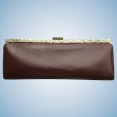 Vintage 1960's Leather Clutch - Baguette Style in Deep Auburn Color