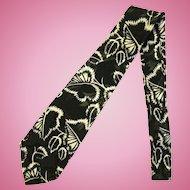 Vintage Jacquard Necktie in Black with Leaf Design in White