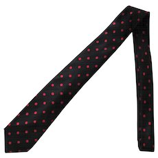 Vintage Narrow Black Silk Tie with Red Polka Dots