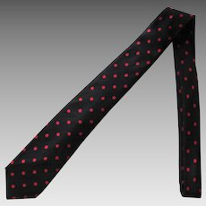 Vintage Narrow Black Silk Tie with Red Polka Dots