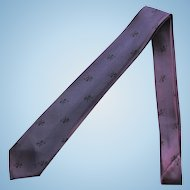 Vintage Narrow Necktie in Medium Purple with Lions in Black – Late 1950's