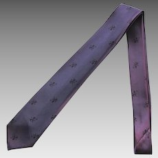 Vintage Narrow Necktie in Medium Purple with Lions in Black – Late 1950's