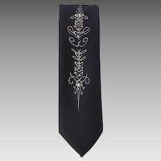 Vintage 1950s Deep Navy Blue Necktie with Unique Line Drawing in White