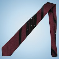 Vintage 1960s Wembley Necktie in Wine Red with Silver Metallic Accents and Black Diagonals