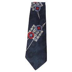 Vintage 1950's Jacquard Necktie in Blue with Red and White Geometric Designs