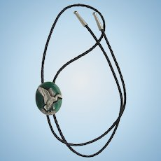 Vintage Bolo Tie with Mallard Duck by Siskiyou in Silver and Green Colors