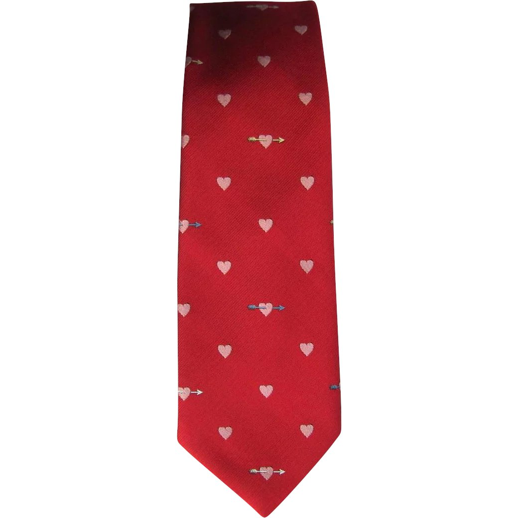 467deb079c8 Vintage 1960's Jacquard Tie in Red with Heart and Arrow Design by : Whimsy  | Ruby Lane