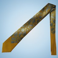 Vintage 1960's Ochre and Grey Necktie with Abstract Design