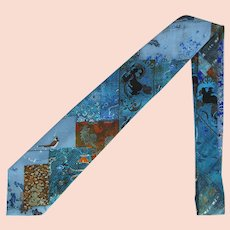 Vintage 1970's Necktie with Asian Motif in Shades of Blue