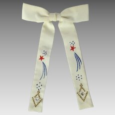 Vintage 1950's Western Bow Tie with Hand-Painted Fireworks and Clip-On