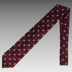 Vintage Necktie in Burgundy with Rampant Lions in Grey
