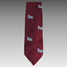 Vintage Necktie in Maroon with Grey Cats with Green Eyes