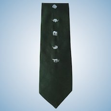 Vintage Necktie in Hunter Green with African Animal Theme