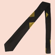 Vintage 1960's Slim Necktie with Narrow Brown and Black Stripes by Wembley