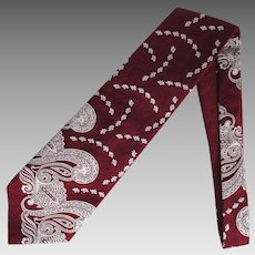Vintage 1960's Wide Necktie in Burgundy with Stylized Floral and Paisley Design
