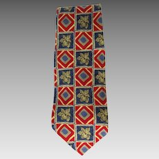 Vintage Silk Necktie in Blue and Red with Floral Motif by Robert Talbot