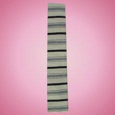 Vintage 1960's Square Bottom Skinny Necktie in Ecru with Horizontal Stripes