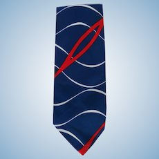 Vintage 1950's Wide Necktie in Red, White, and Blue