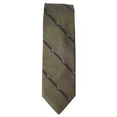 Vintage 1970's Silk Necktie in Tan with Mallards in Flight Design