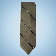 Vintage 1970's Silk Necktie in Tan with Mallards in Flight Design