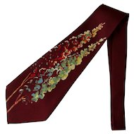 Vintage 1940's Wide Silk Necktie Hand Painted in Sienna with Floral Design