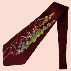 Vintage 1940's Wide Silk Necktie Hand Painted in Sienna with Floral Design