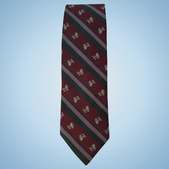 Vintage 1970's Silk Tie in Burgundy and Green with Fly Fishing Theme