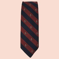 Vintage 1970's Tie with Fly Fishing Theme in Blue and Maroon