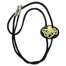 Bolo Tie with Octopus Slider in Black and White