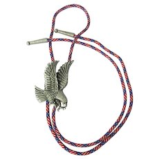 Vintage Eagle Bolo Tie with Stars and Stripes Cord – Signed and Dated
