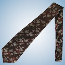 Vintage 1950's Tie in Shades of Brown with Brush Stroke Design