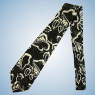 Vintage Jacquard Silk Necktie in Black with Leaf Design in White