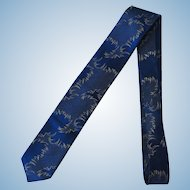 Vintage 1960's Blue Necktie with Abstract Design and Copper Accents by Rhodia