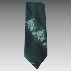Vintage 1970's Wide Jacquard Necktie in Four Shades of Green with Roses Motif