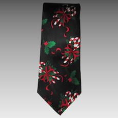 Vintage Silk Jacquard Necktie with Candy Cane and Holly Design