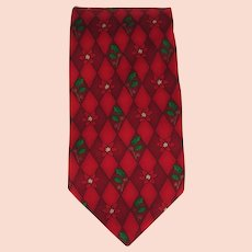 Vintage Silk Necktie with Holly and Poinsettia Design in Red with Green Accents
