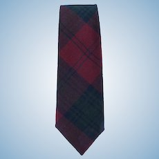 Vintage Necktie of Lindsay Tartan Plaid by Lochcarron in Maroon and Green with Blue