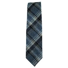 Vintage Gray Plaid Necktie with Accent Colors of Cream – Navy – Sandy Brown
