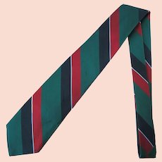 Vintage Silk Necktie with Deep Green Diagonal Stripes with Red and Navy Accents