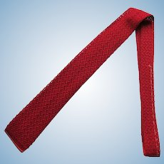 Vintage 1960's Skinny Red Necktie – Crochet with Square Bottom