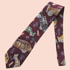 Vintage Steppin' Out Silk Necktie – John Lennon Artwork with Cars
