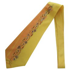 Vintage Late 1940's Necktie – Hand-Painted in Sunflower Yellow with Shiny Accents