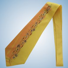 Vintage Late 1940's Necktie – Hand-Painted in Sunflower Yellow with Glitter