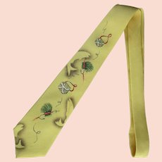 Vintage 1950's Necktie with Fishing Theme – Hand-Painted on Yellow