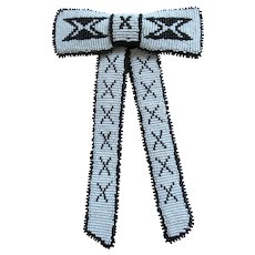 Vintage Black and White Clip On Bow Tie – Montana Native American Beadwork