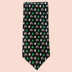 Vintage Holiday Silk Necktie with Snowmen – Evergreen Trees – Houses