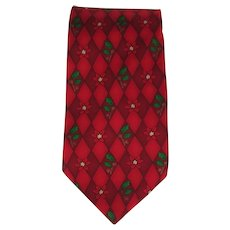 Vintage Silk Necktie with Holly and Poinsettias in Red with Green Accents