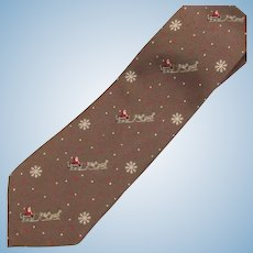 Vintage Santa and Reindeer Silk Necktie in Light Chocolate with Snowflake Accents