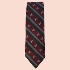 Vintage 1970's Silk Necktie in Burgundy and Green with Fly Fishing Theme